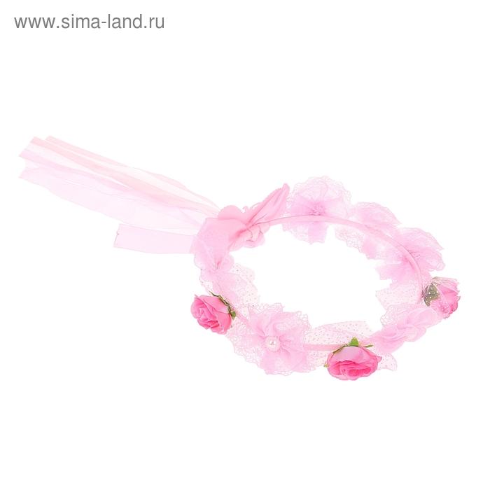 """Венок на голову """"Цветочки"""", цвет розовый"""