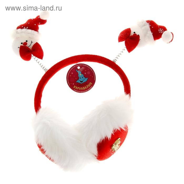"""Ободок-наушники """"С Новым годом! Снеговики"""""""