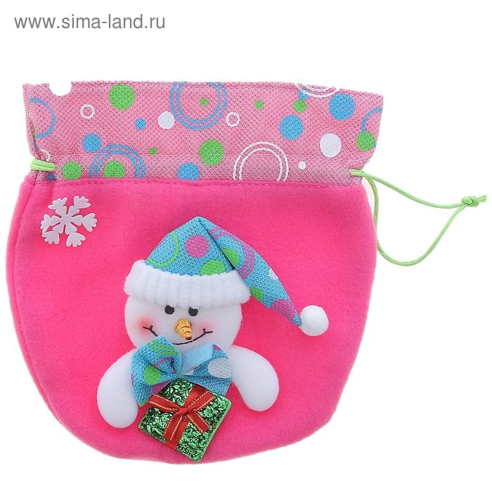 """Мешок для подарка """"Снеговик с гостинцем"""" (розовый)"""