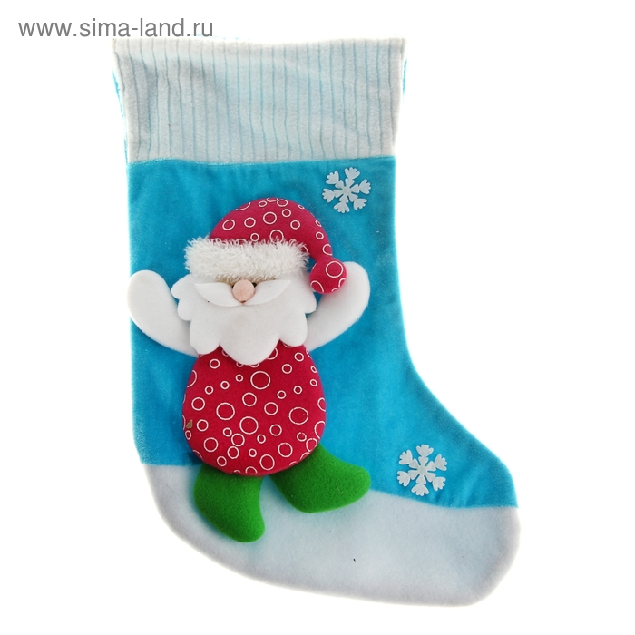 "Носок для подарка ""Дед Мороз со снежинками"" (бело-голубой, кружочки)"