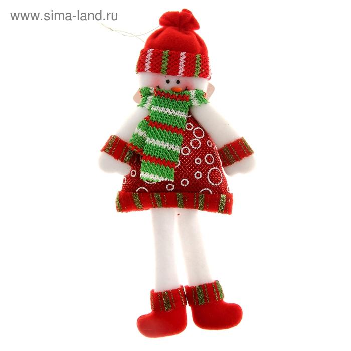 """Мягкая игрушка """"Снеговик в шубке"""" (кружочки)"""