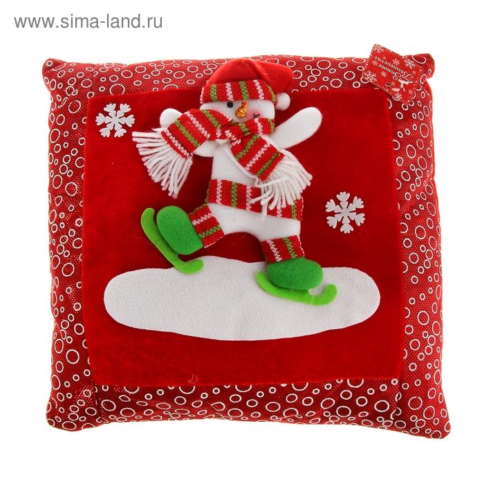 """Мягкая подушка Новый Год """"Снеговик"""" в коньках"""