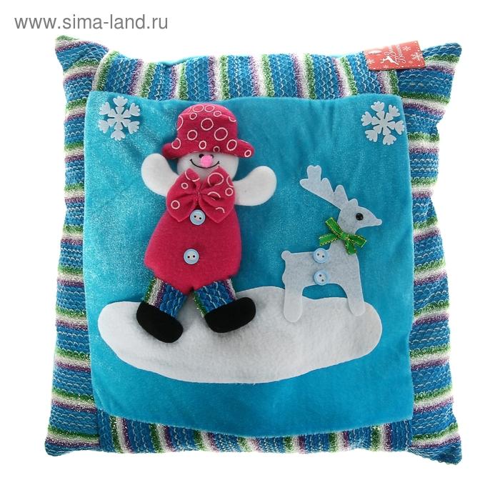 """Мягкая подушка Новый Год """"Снеговик"""" с оленем"""