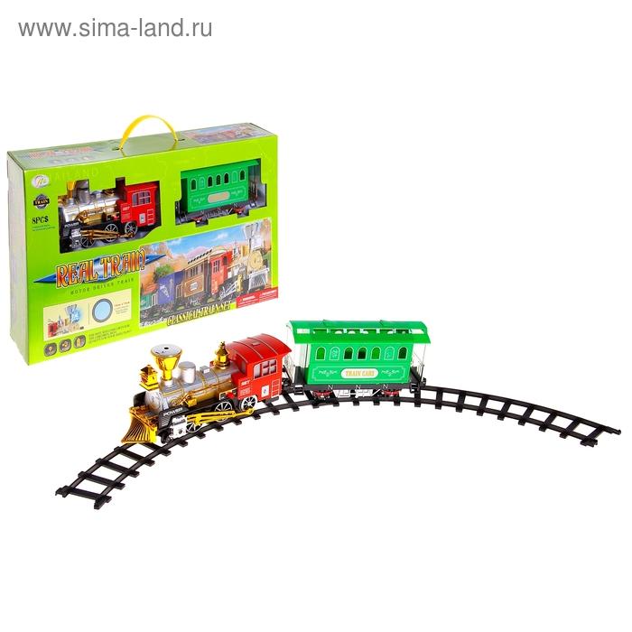 """Железная дорога """"Классический поезд"""", работает от батареек, световые и звуковые эффекты, цвета МИКС"""