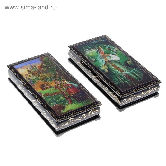 Пенал 8,5х17х3 см малый купюрник Сказки лаковая миниатюра микс дерево
