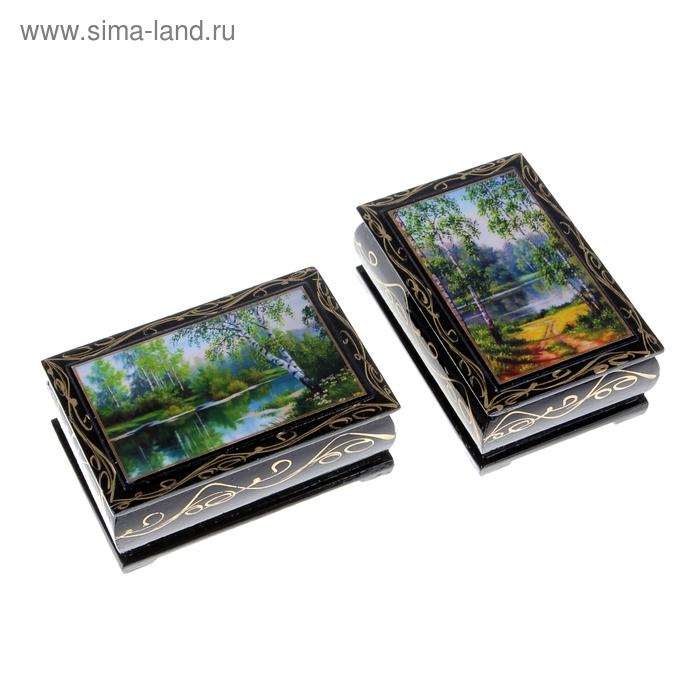Шкатулка 6х9х3 см Пейзаж лаковая миниатюра микс дерево