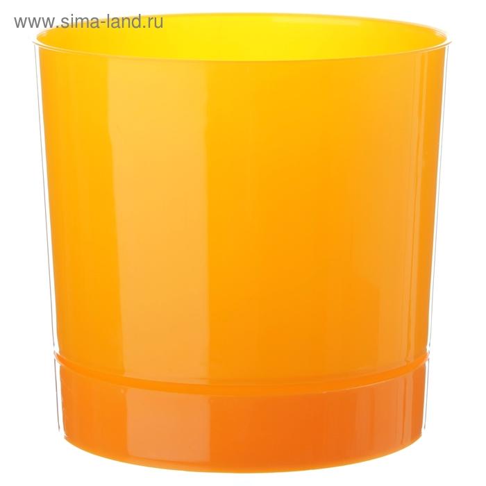 Горшок 2 л для цветов d=15,4 см с поддоном, цвет оранжевый