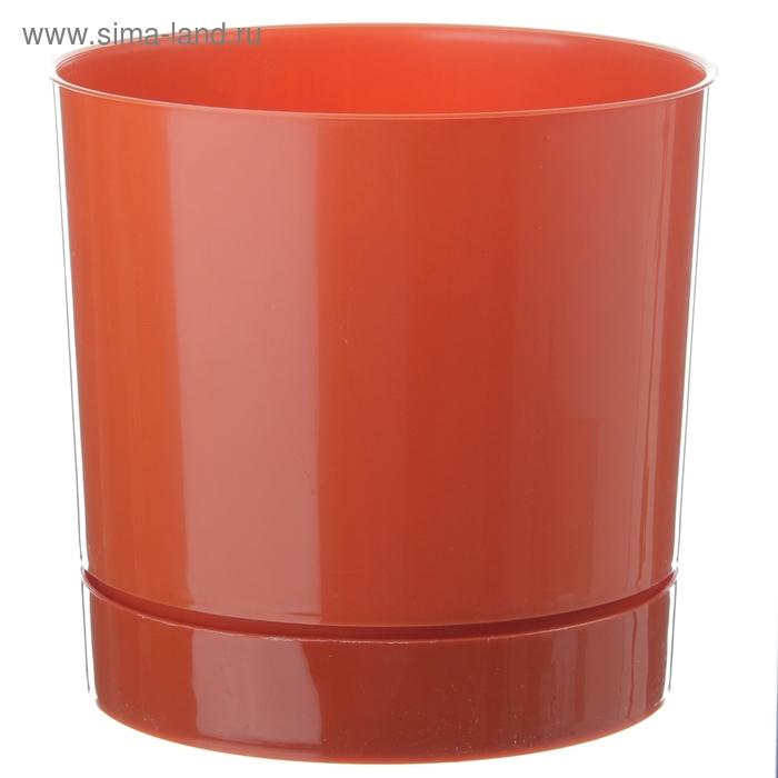 Горшок 2 л для цветов d=15,4 см с поддоном, цвет терракотовый