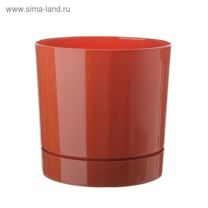 Горшок 3,6 л для цветов d=18,6 см с поддоном, цвет терракотовый