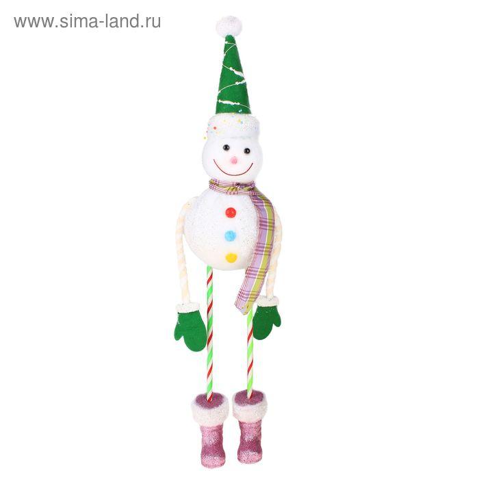 """Игрушка """"Пряничный снеговик"""" (зелёный колпак)"""