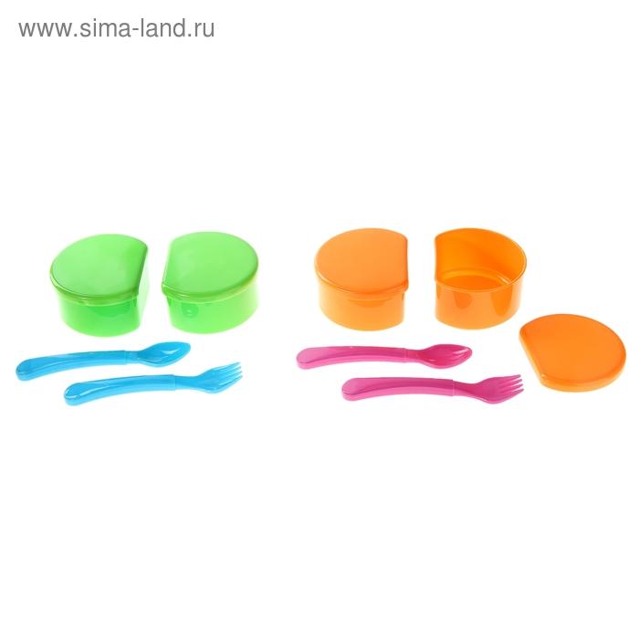 Набор детской посуды: 2 контейнера с крышкой, вилка, ложка, цвета МИКС