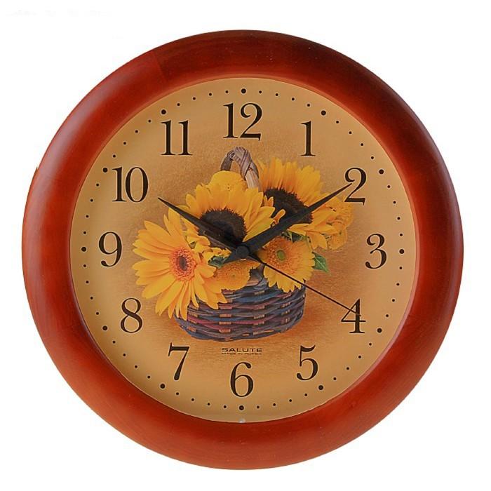 """Часы настенные круглые """"Подсолнухи"""", деревянные"""