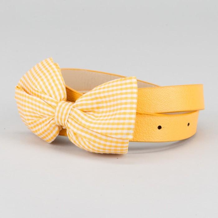 "Ремень женский ""Бантик"", ширина 1,5см, цвет жёлтый"