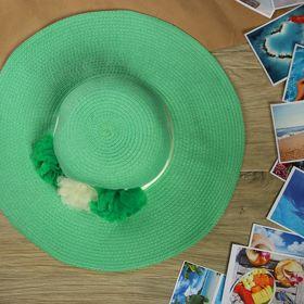 """Шляпа пляжная """"Цветы"""", цвет зелёный, обхват головы 58 см, ширина полей 12 см"""
