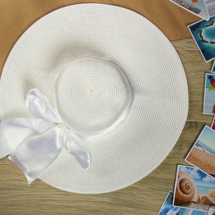 """Шляпа пляжная """"Нежность"""" с атласным бантом, цвет белый, обхват головы 58 см, ширина полей 13 см"""