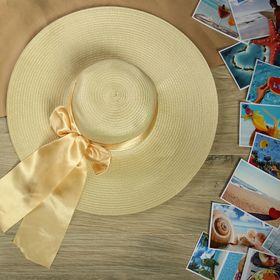 """Шляпа пляжная """"Нежность"""" с атласным бантом, цвет бежевый, обхват головы 58 см, ширина полей 13 см"""