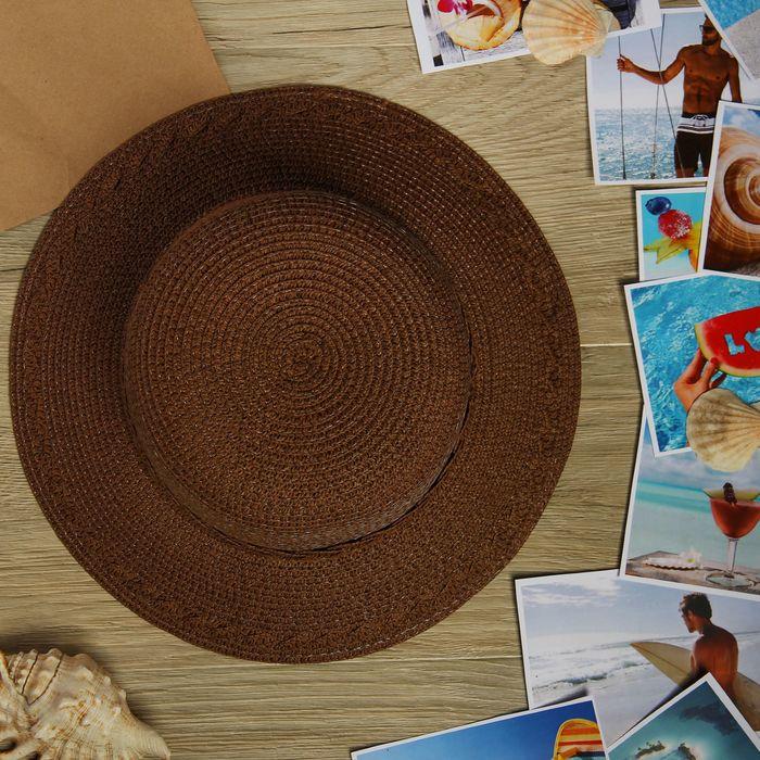 """Шляпа пляжная """"Мадам"""", цвет коричневый, обхват головы 58 см, ширина полей 7 см"""