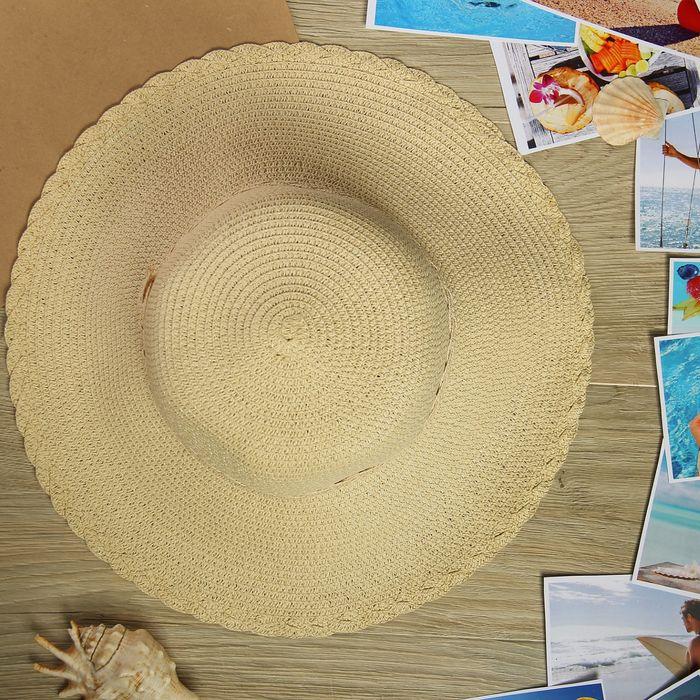 """Шляпа пляжная """"Сеньорина"""", цвет бежевый, обхват головы 58 см, ширина полей 10 см"""
