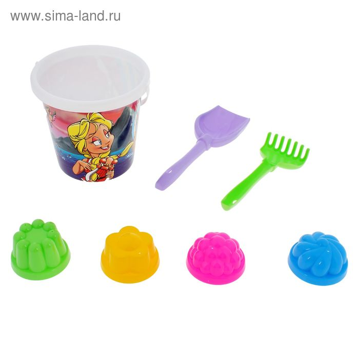 Песочный набор № 120: ведро, лопатка, грабельки, 4 формочки, цвета МИКС