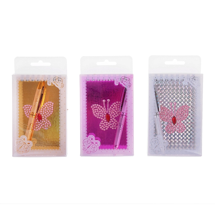 Блокнот А6 30л лин на гребне с ручкой в пластиковой коробочке Бабочка из блесток МИКС