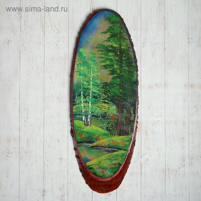"""Картина в форме среза дерева 90 см """"Лето"""" 101413 каменная крошка"""