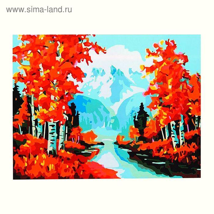 """Роспись по холсту """"Осенний лес"""" по номерам с красками по 3 мл + кисти + инструкция + крепеж"""