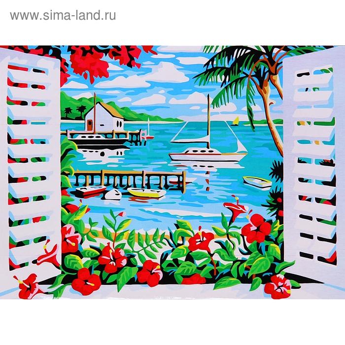 """Роспись по холсту """"Вид на море"""" по номерам с красками по 3 мл + кисти + инструкция + крепеж"""