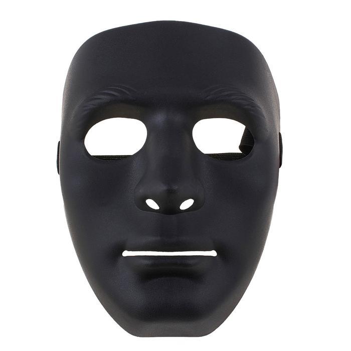 Карнавальная маска пластик лицо черная 19*16 см
