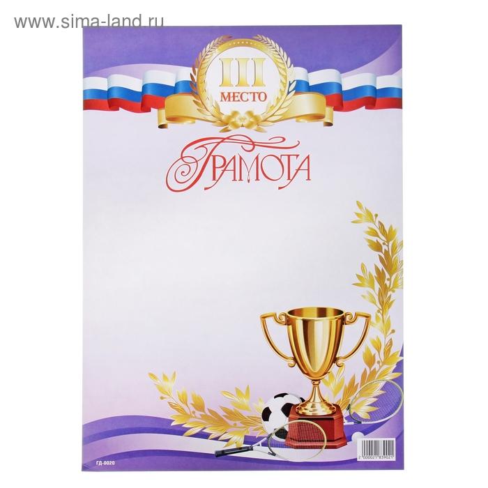 """Грамота """"Спорт"""" 3 место"""