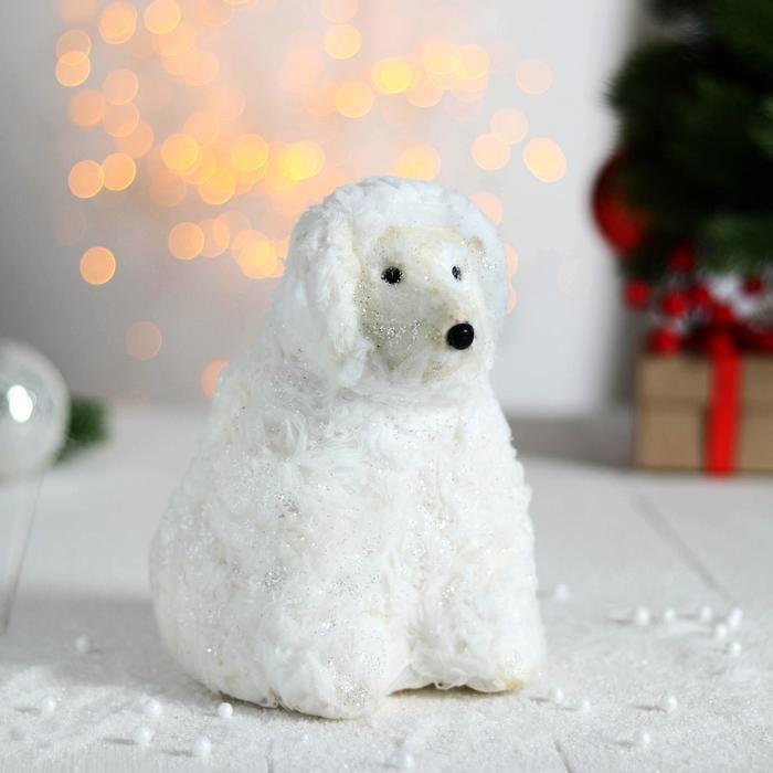 "Фигурка новогодняя ""Мерцающий мишка"" сидящий"