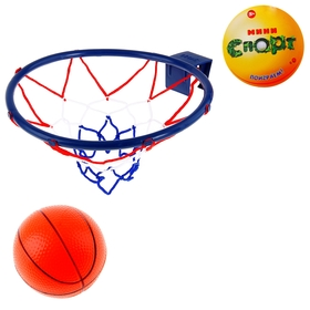Игра 'Баскетбол': кольцо, мяч диаметр 12 см, цвета МИКС Ош