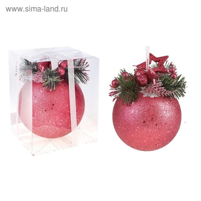 """Новогодний декорированный шар """"Красная резная звёздочка"""""""