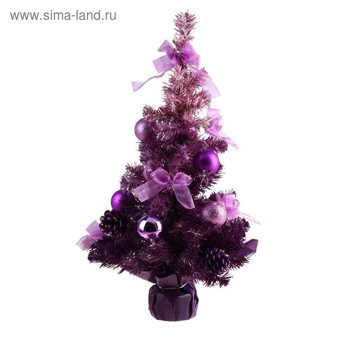Ёлка декорированная фиолетовая