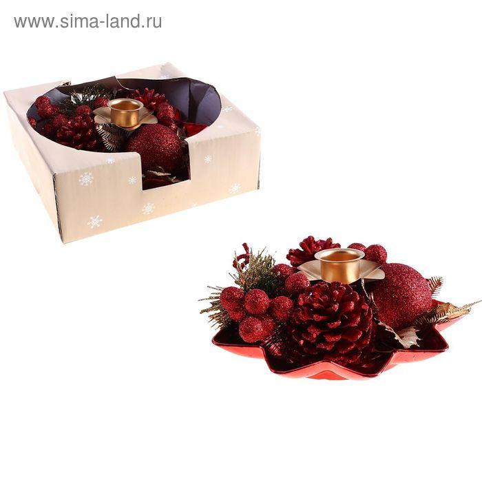 """Подсвечник на одну свечу """"Красные лепестки"""" ягодки"""