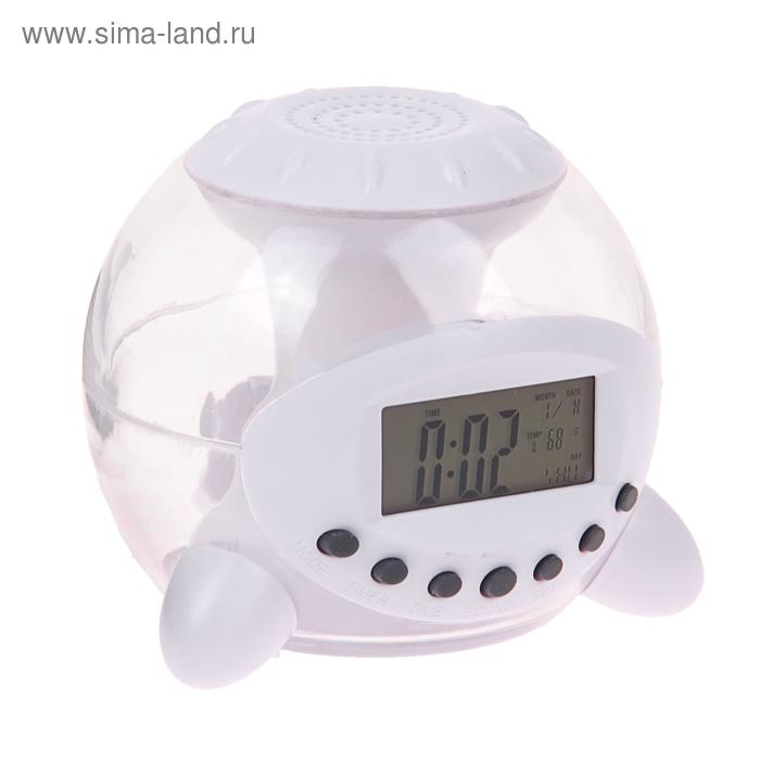 Часы-будильник с разноцветной подсветкой и динамиком, пластик