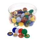 Набор кнопок с цветной пластиковой головкой, в пластиковой коробке