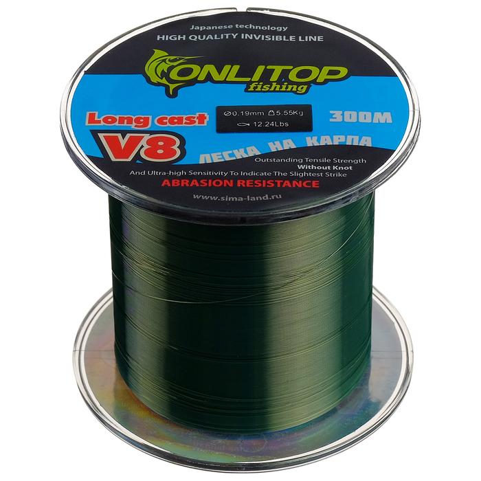 Леска капрон V8 на карпа, темно-зеленая d=0,19 мм, 300 м, 5,55 кг