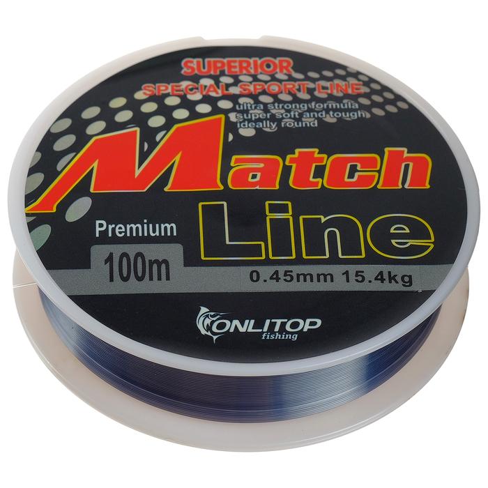 Леска капрон Match Line серая d=0,45 мм, 100 м, 15,4 кг