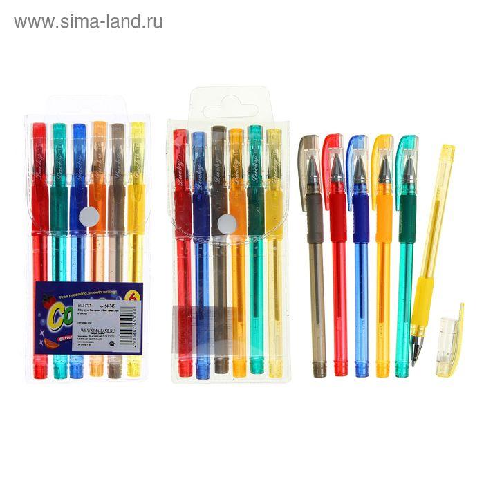 Набор гелевых ручек 06цв. Ароматные, металлик, с блестками, с резиновым держателем