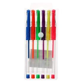 Набор гелевых ручек 6 цветов флуоресцентные, с резиновыми держателями