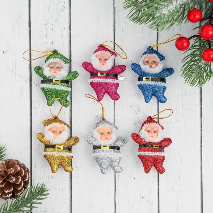 """Ёлочные игрушки """"Блестящий Дед Мороз"""" (набор 6 шт.)"""