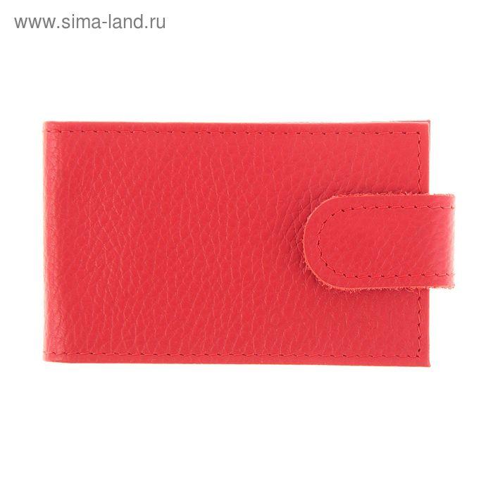 Визитница на кнопке, 1 ряд, 18 листов, красный флотер