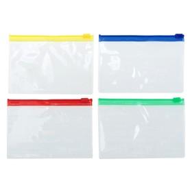 Папка-конверт на молнии формат А7+ 200мкр прозрачная молния МИКС 8,5*13см