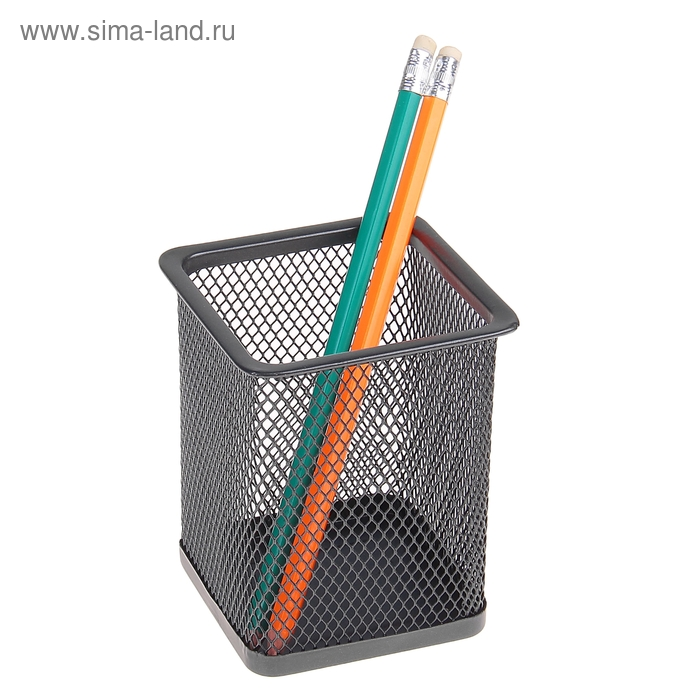 Стакан для ручек, квадратный, черная сетка