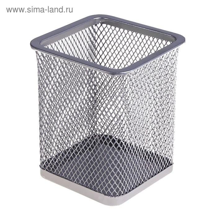 Стакан для ручек, квадратный, серая сетка