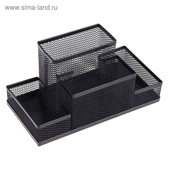 Подставка для канцелярских мелочей (4 отделения, черная сетка)