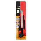 Нож канцелярский лезвие-9мм пластик с резиновым держателем с металл направляющими с фиксатор