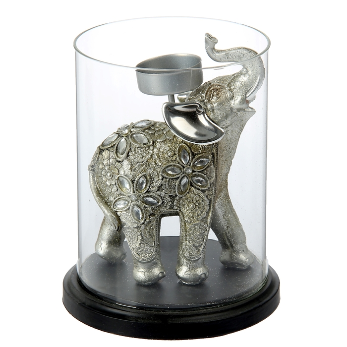 """Подсвечник """"Слон индийский с серебряными ушками"""""""