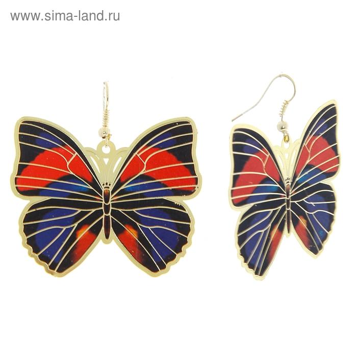 """Серьги """"Бабочки"""", цветные"""