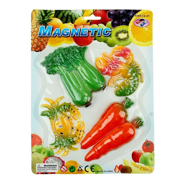 """Магнит """"Овощи с морепродуктами"""" набор 4 шт, МИКС"""